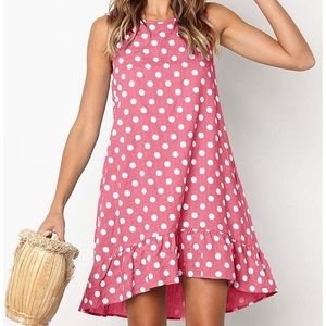 Pink Polka Dot Ruffle Loose Fit Dress